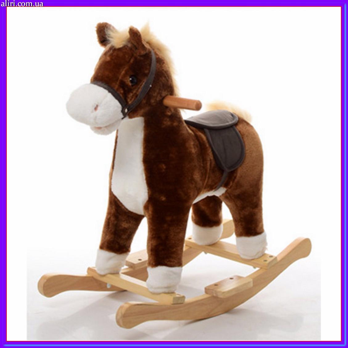 Плюшевая музыкальная лошадка — качалка