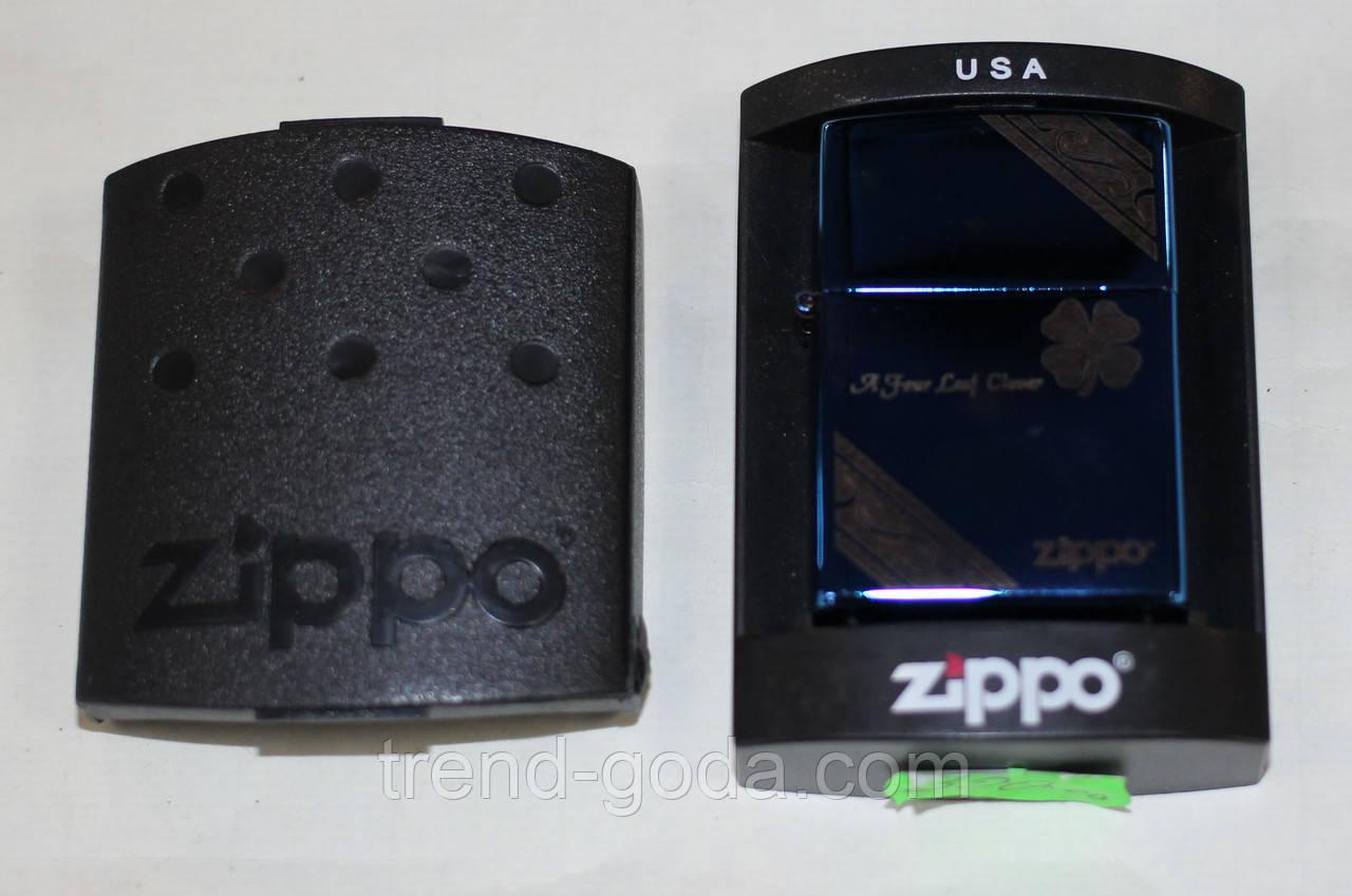 Зажигалка карманная бензиновая, синяя, Zippo