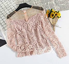 Женская блузка из набивного кружева Люкс качество РАЗНЫЕ ЦВЕТА(Фабричный Китай )  Код В606-1504