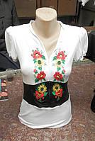 """Вышитая женская футболка на молнии  """" Комби """"  3399 (Л.Л.Л) , фото 1"""
