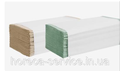 Бумажное зеленое полотенце макулатурное  листовое 1-слойное/25шт упак/V-сложение PAPERO, фото 2