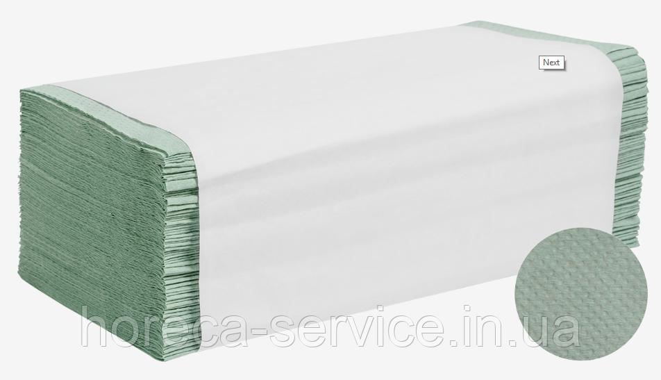 Бумажное зеленое полотенце макулатурное  листовое 1-слойное/25шт упак/V-сложение PAPERO