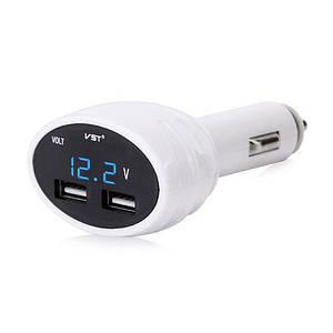 Вольтметр автомобильный 2 USB VST 708V Blue