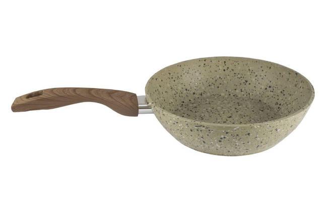 Сковорода антипригарна Maxmark - 240 мм граніт коричневий з кришкою, фото 2