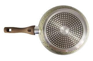 Сковорода антипригарна Maxmark - 240 мм граніт коричневий з кришкою, фото 3