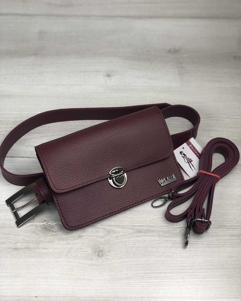 313b2509018a Бордовая сумка-клатч на пояс 60407 маленькая молодежная через плечо, фото 1