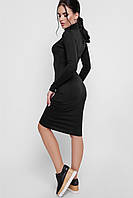 Приталенное женское платье-гольф цвета графит 42-48рр