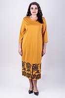 Красивое однотонное платье Римма прямого силуэта с ажурным рисунком большого размера 52-60 батал горчичное, фото 1