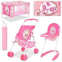 Игровой набор для Пупс или кукла типа baby born беби берн, коляска, стул для кормления, манеж, Hello Kitty,
