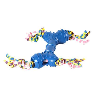 Игрушка для собак Кость рифленая с полосками грейферами TPR 16,5*15см, фото 2