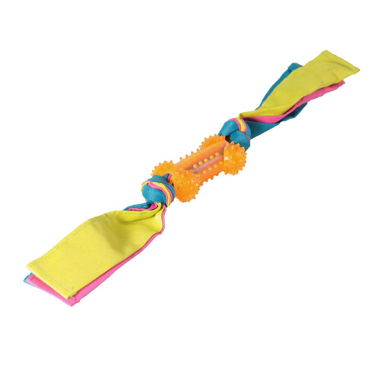 Игрушка для собак Кость шипованная с лентами нейлона TPR 11*44,5 см