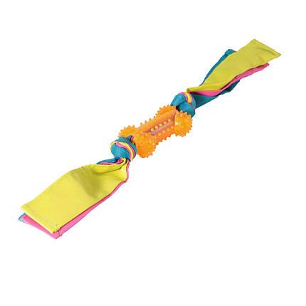Игрушка для собак Кость шипованная с лентами нейлона TPR 11*44,5 см, фото 2