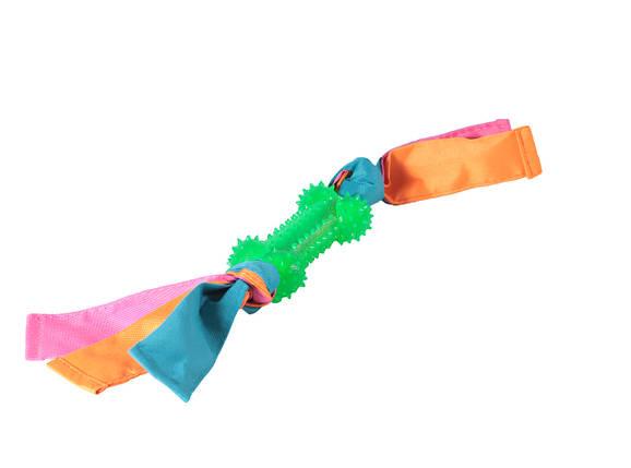 Игрушка для собак Кость шипованная с лентами нейлона TPR 9*41 см, фото 2