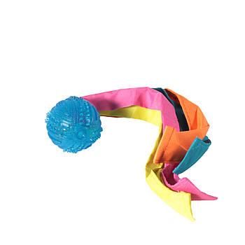 Игрушка TPR для собак FOX мяч шипированный с лентами нейлоновыми, 6х33 см