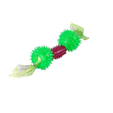 Игрушка для собак Сборная гантель выпуклая шипованная TPR 6*26 см, фото 2