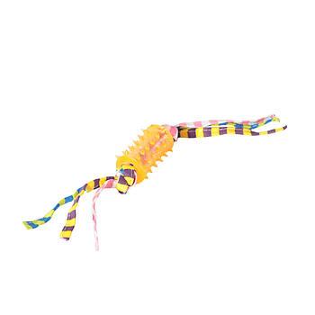 Игрушка TPR для собак FOX трубочка вогнутая шипированная с цветными грейферами, 4х18 см
