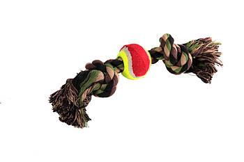 Игрушка канат-грейфер для собак FOX цветной двухузловой с 1 теннисным мячом, 35 см