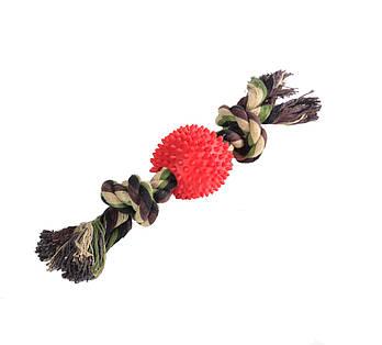 Игрушка канат-грейфер для собак FOX цветной двухузловой мяч-еж, 30 см