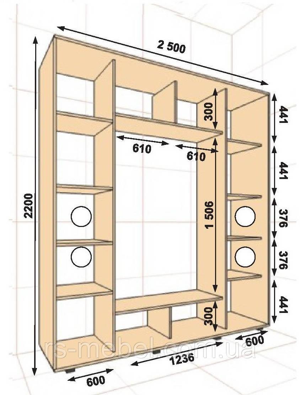 Шкаф-купе 2500*450*2200, 3 двери (Алекса)