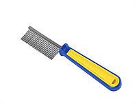 Расческа пласт, желто-син, част, зубья /пакет
