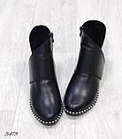 Женские демисезонные ботинки с натуральной кожи черные, фото 3
