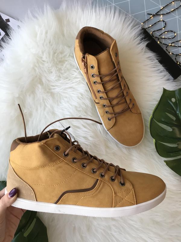 Мужские горчичные ботинки Pull&Bear эко кожа лёгкие