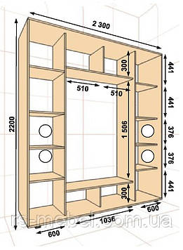 Шкаф-купе 2300*450*2200, 3 двери (Алекса)
