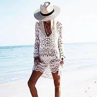 Пляжная туника белая кружевная 2275, фото 1