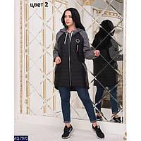 Куртка женская батал размеры 46-56 цвет черный