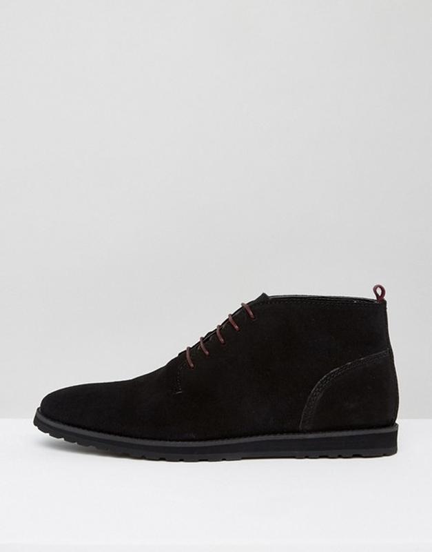 Ботинки дезерты замшевые мужские черные Asos большой размер