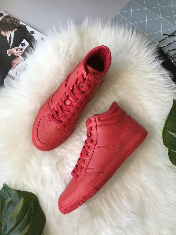 Мужские красные кроссовки Pull&Bear эко кожа лёгкие большой размер