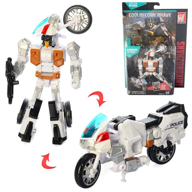 Трансформер A102 поліція, робот мотоцикл, на листі, 19-28,5-6 см