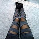 Леггинсы для спорта лосины для фитнеса черные с сеткой 💣, фото 8