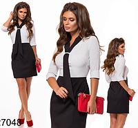 Офисное платье с принтом в горошек (белый) 827048