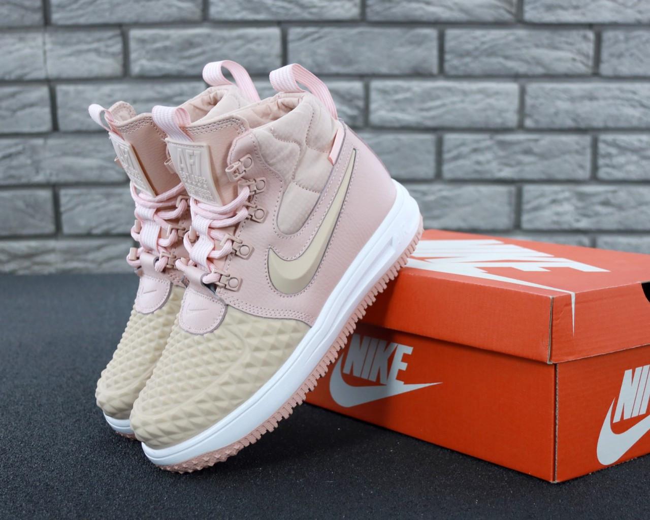 Женские кроссовки Nike Lunar Force 1 Duckboot 17 Pink розовый. ТОП Реплика ААА класса.