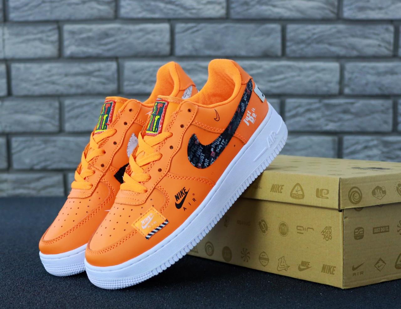 Мужские кроссовки Nike Air Force 1 Low Just Do It Orange . ТОП Реплика ААА класса.