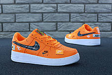 Мужские кроссовки Nike Air Force 1 Low Just Do It Orange . ТОП Реплика ААА класса., фото 3