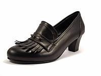 Туфли лодочка с бахромой черные большой размер женская обувь Primo Black Lether by Rosso Avangard BS, фото 1