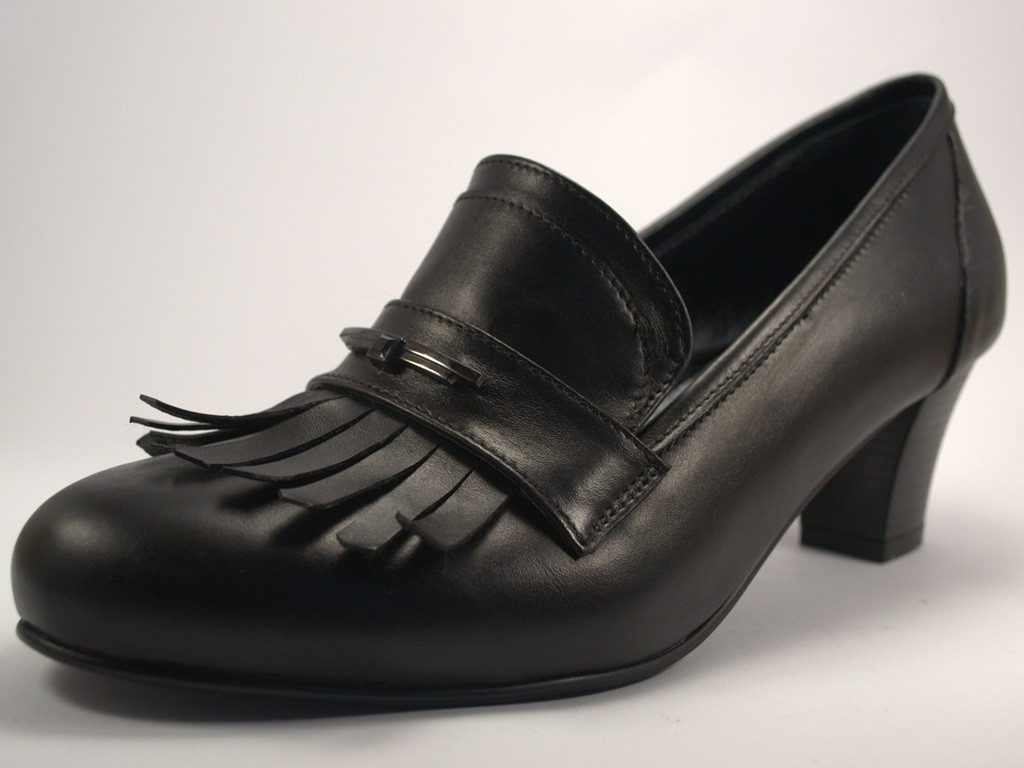 Туфли лодочка с бахромой черные большой размер женская обувь Primo Black Lether by Rosso Avangard BS