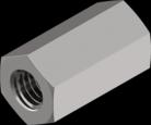 Гайка из нержавеющей стали А2 шестигранная, удлиненная DIN 6334