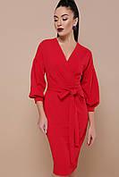 Красивое красное платье миди на запах