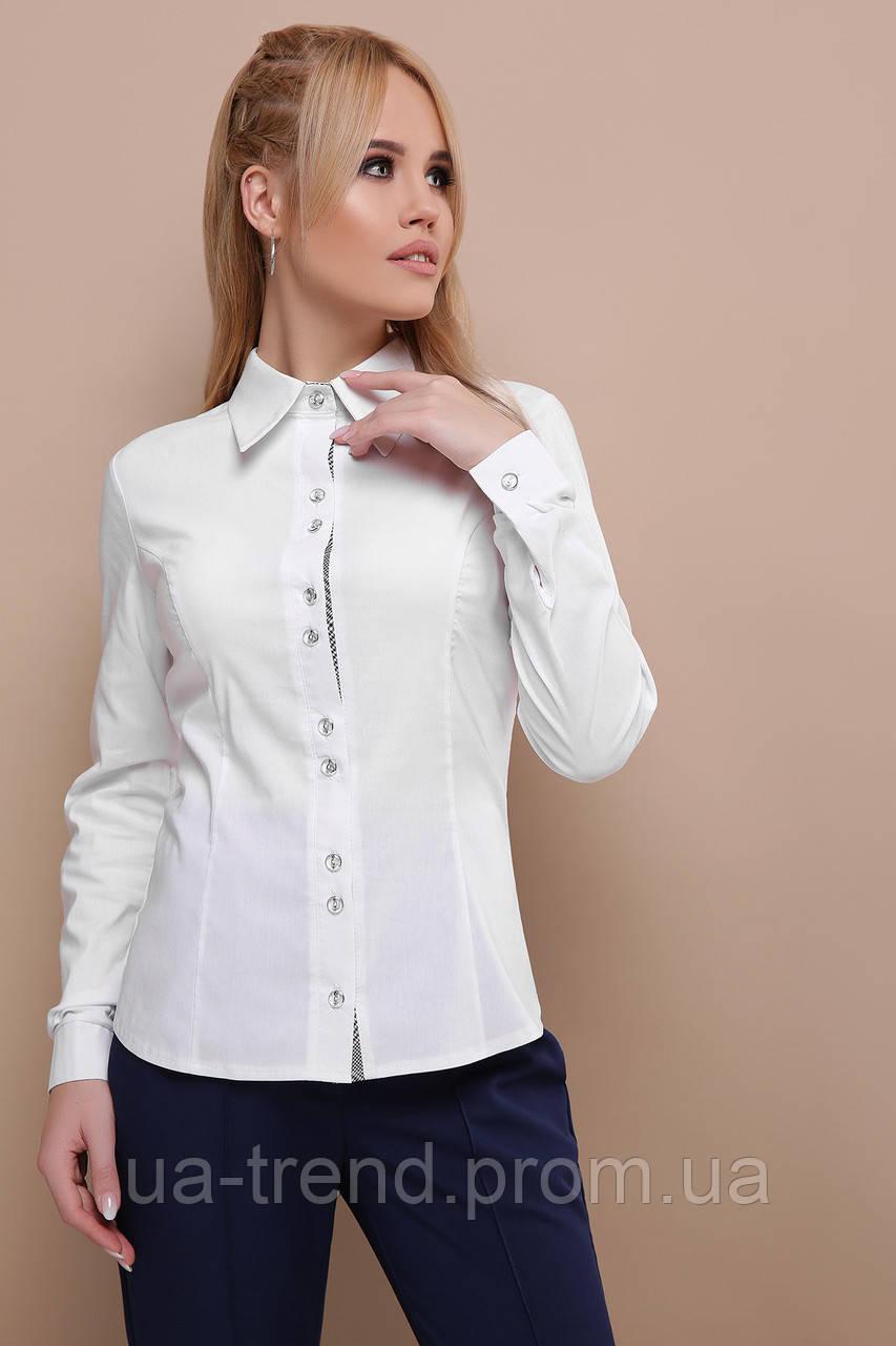 c855f726ade Женская классическая рубашка белого цвета - Интернет-магазин украинского  текстиля