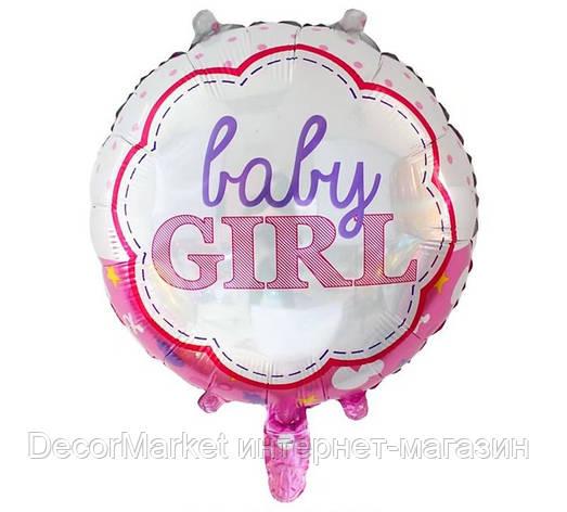 Шар круглый фольгированный,  BABY GIRL - 45 см (18 дюймов) , фото 2