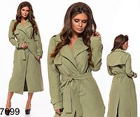 0858ee57eaa Длинное женское пальто на запах (хаки) 827099