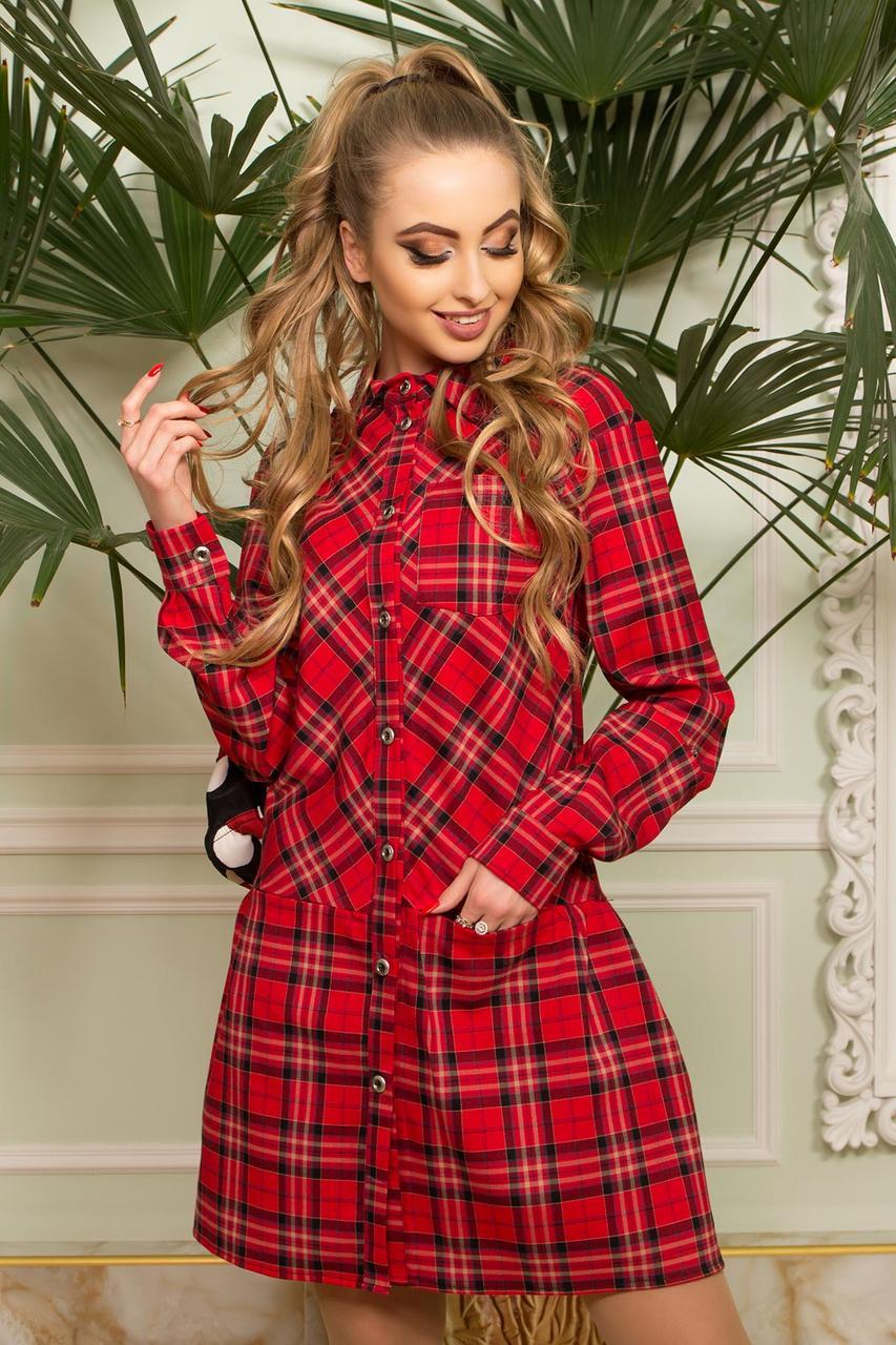 f2c30a0756f Теплое платье-рубашка в клетку красное шерстяное - Интернет-магазин одежды  ALLSTUFF в Киеве