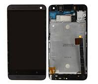 Дисплей (LCD) HTC One M7 Dual Sim 802w с тачскрином, чёрный + рамка черная