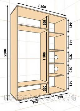 Шкаф-купе 1200*450*2200, 2 двери (Алекса)