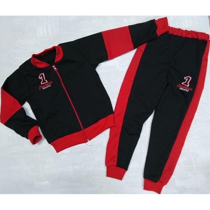 Черный спортивный костюм для мальчика с красными вставками Чемпион 86-120 р