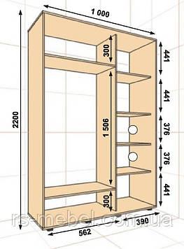 Шкаф-купе 1000*450*2200, 2 двери (Алекса)