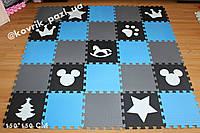Коврик-пазл для мальчика (серый, голубой, черный, белый) 150*150 см